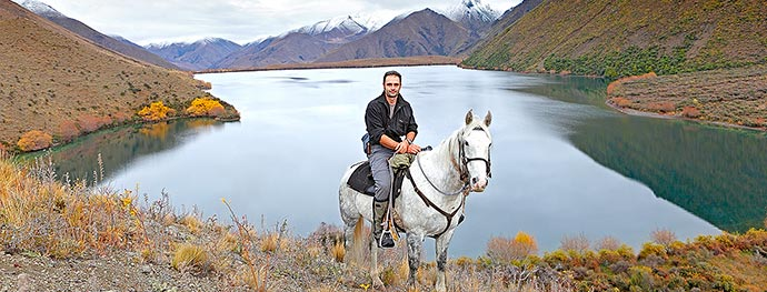Rob Suisted riding Ghost at Lake McRae, during Molesworth Station book filming