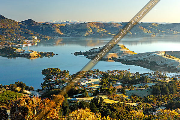 Photo of Otago Harbour on frosty winter morning from above Portobello. Port Chalmers left, Otago Peninsula, Dunedin City District, Otago Region, New Zealand (NZ)
