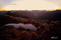 Fiordland sunset wilderness tarn